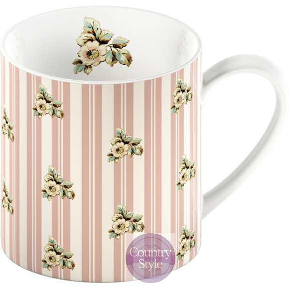 Porcelánový hrnček Pink Stripe Cottage Flower 250ml