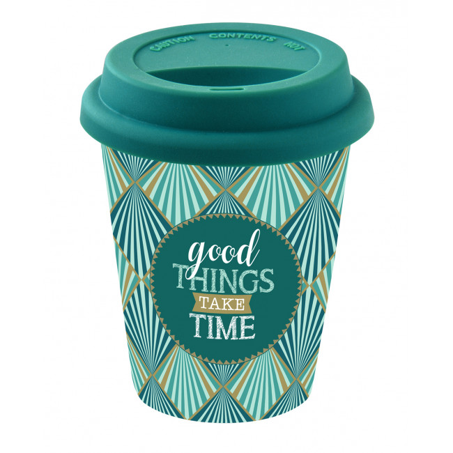 Cestovný porcelánový termo hrnček Good Things Take Times 220ml