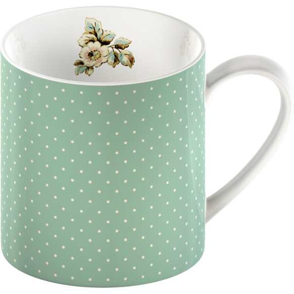 Porcelánový hrnček Green Spots Cottage Flower 250ml